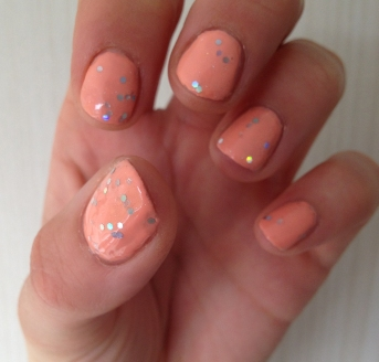 Barry M peach sparkle hologram