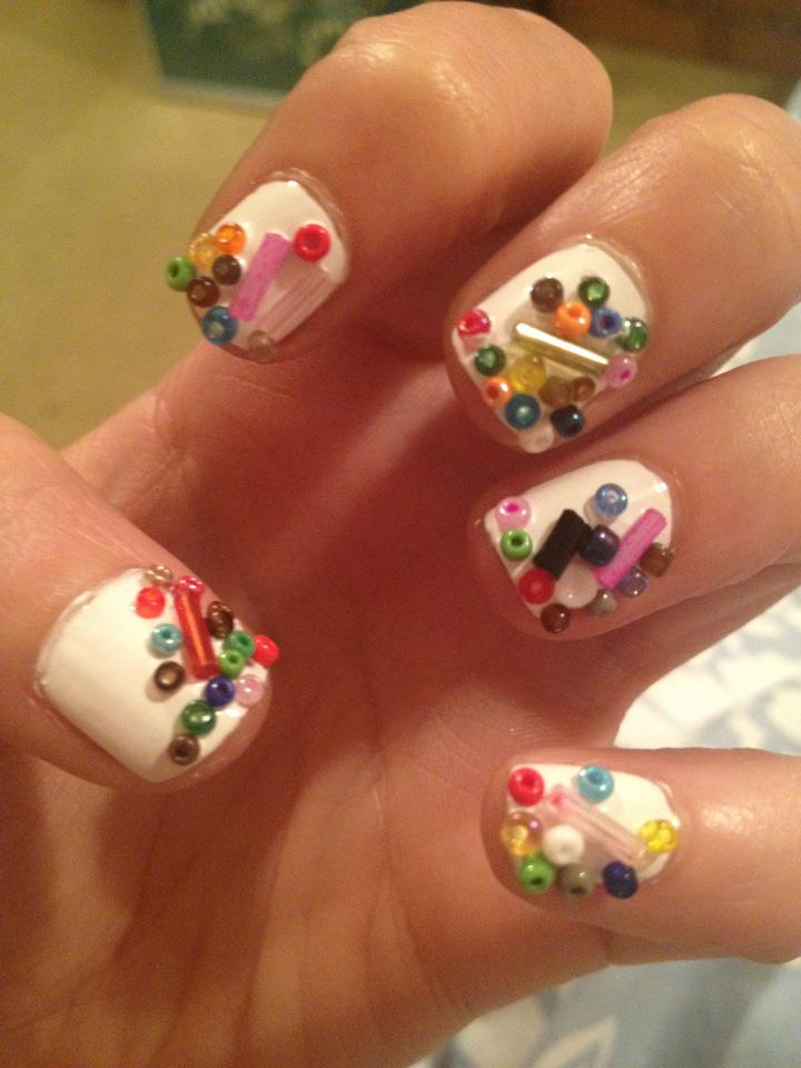 Crazy nail art yesterface bead nail art prinsesfo Images